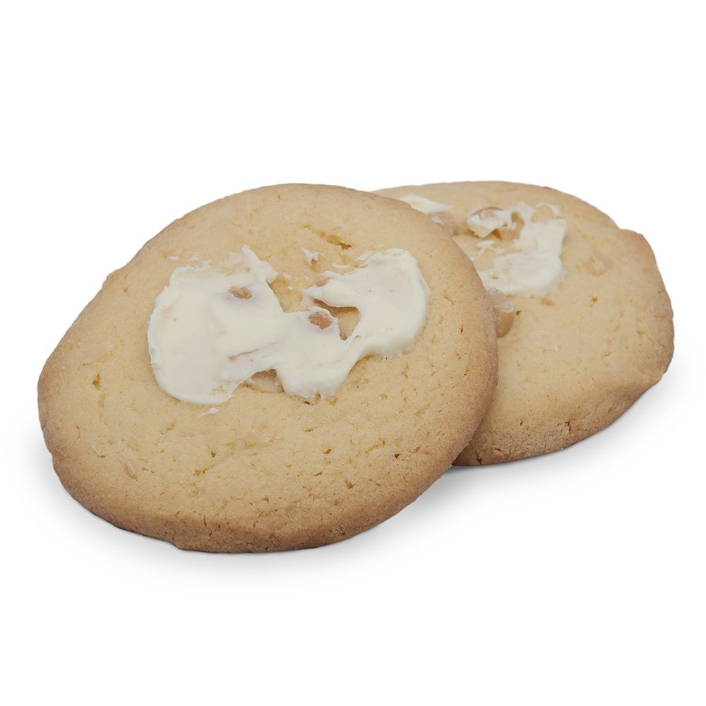 Macadamia shortbread with a splash of white chocolate.